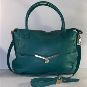 Botkier teal leather zip satchel crossbody handbag